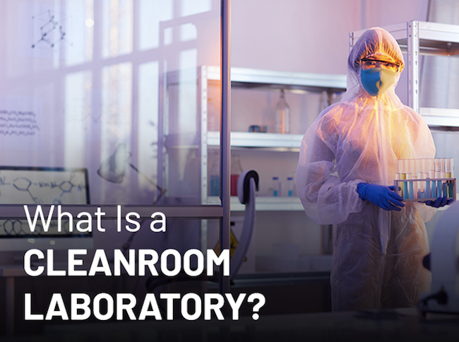 A person carrying test tubes representing a cleanroom laboratory