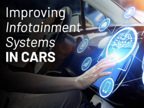 A person touching the dashboaord screen of a vehicle representing improving infotainment systems in cars