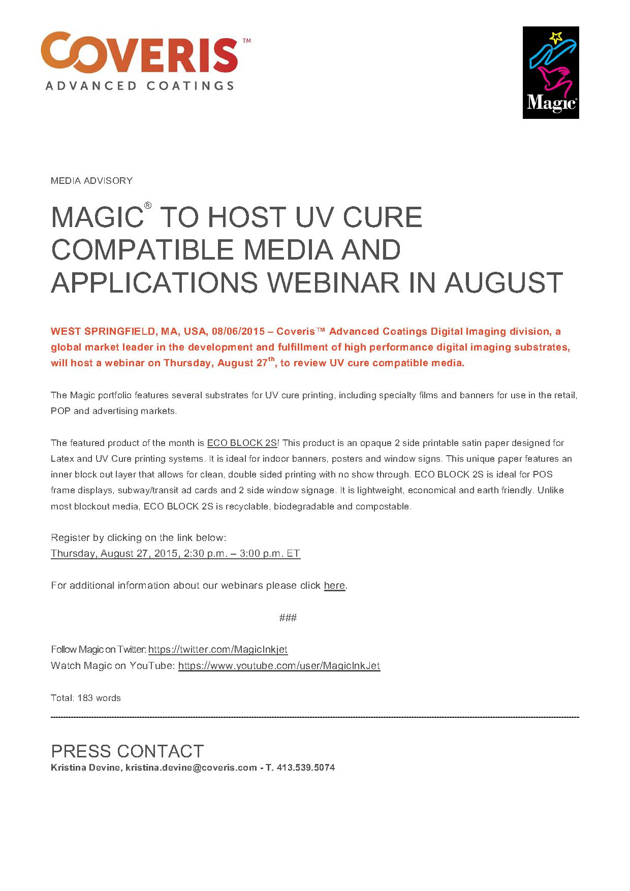 MAGIC® to host UV Cure Compatible Media Webinar in August
