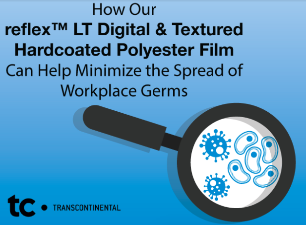 How our Here's how our reflex™ LT Digital Textured Hardcoated Polyester Film can help minimize the spread of workplace germs